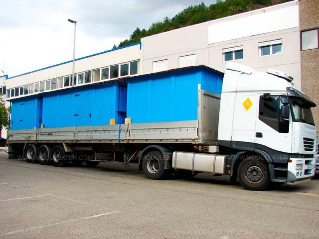 Transporte Chiringuito de madera Ibiza y aseo Reno Holanda