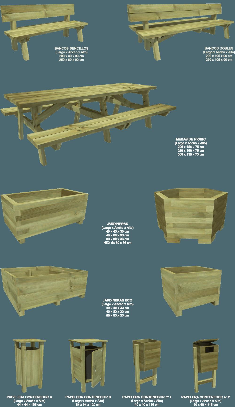 Mobiliario de madera urbano