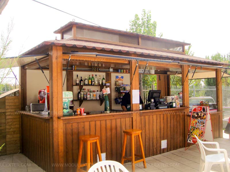 Chiringuito de madera ibiza camping el delf n verde girona for Kioscos bares de madera somos fabricantes