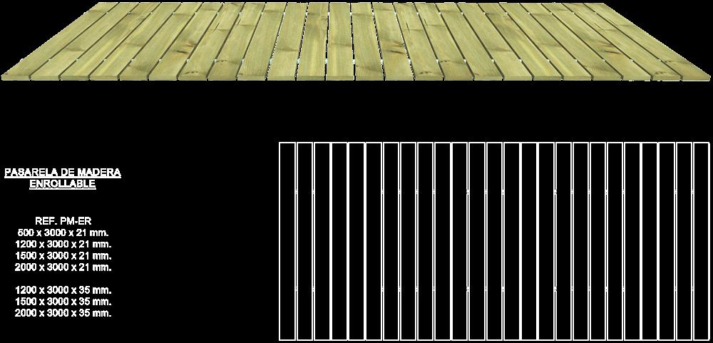 Pasarela de madera enrollable