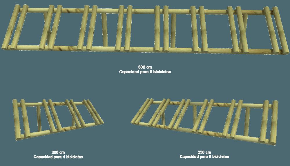 aparcabicicletas de madera tratada